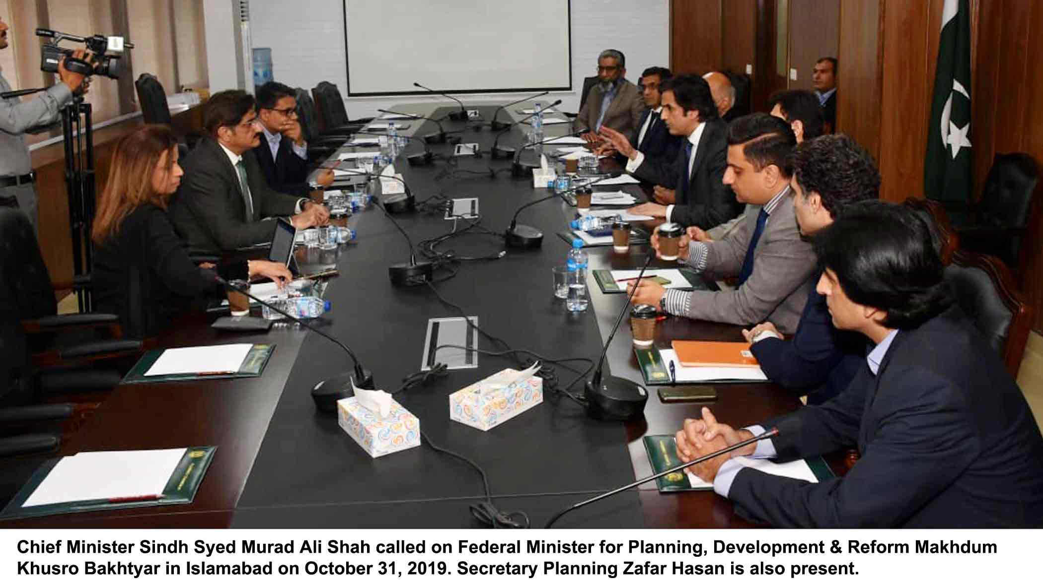 Minister PD&R meeting with Chief Minister Sindh on CPEC projects on 31 October 2019